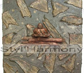 Tableau zen vert en relief et son bouddha. 7