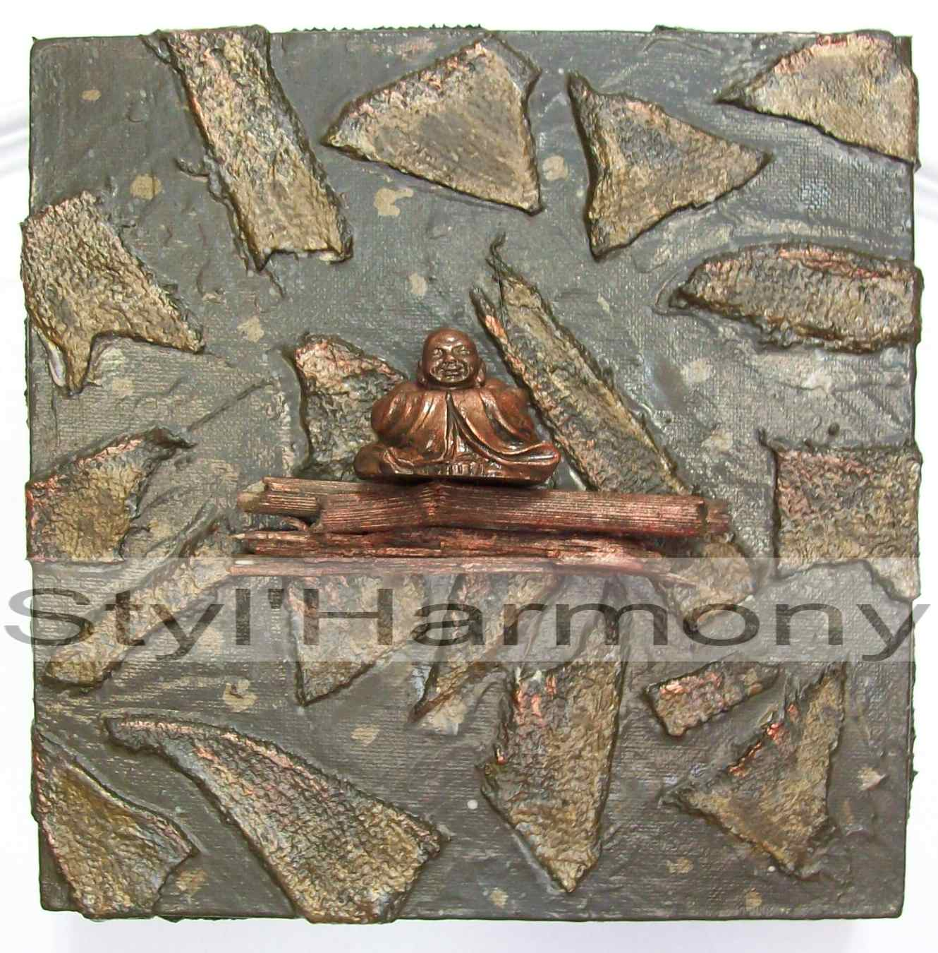 Tableau zen vert en relief et son bouddha. 1