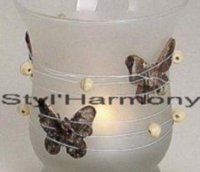 Photophore en verre et ses petits papillons en bois. 6
